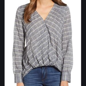 Caslon Gray Faux Wrap Cotton Top